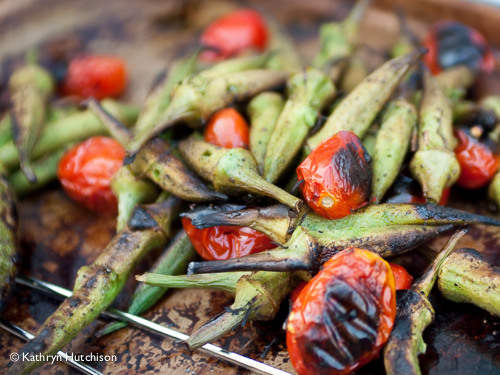 Easy Grilled Okra and Tomatoes